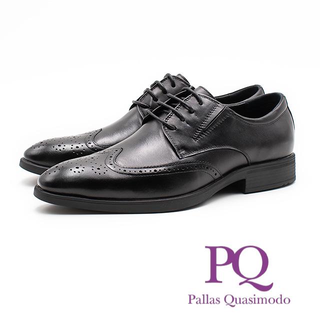 PQ 都會紳士雕花綁帶皮鞋 男鞋 黑 19111-1053-01