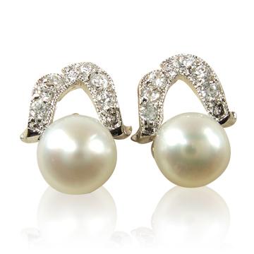 【小樂珠寶】天然珍珠耳環*高雅風耳針款