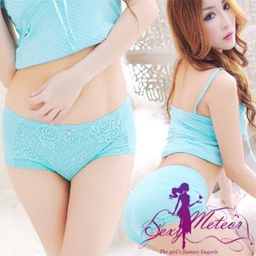 Sexy Meteor A1719-01全尺碼-浪漫質感絕美蕾絲莫代爾中低腰三角內褲(甜翠藍)