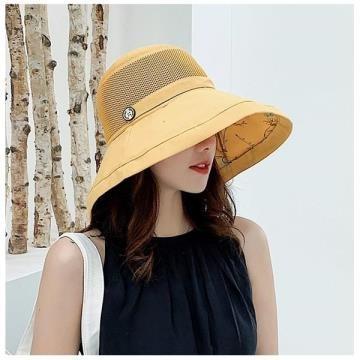 韓版棉麻防曬大沿遮陽帽盆帽帽簷可隨意翻折