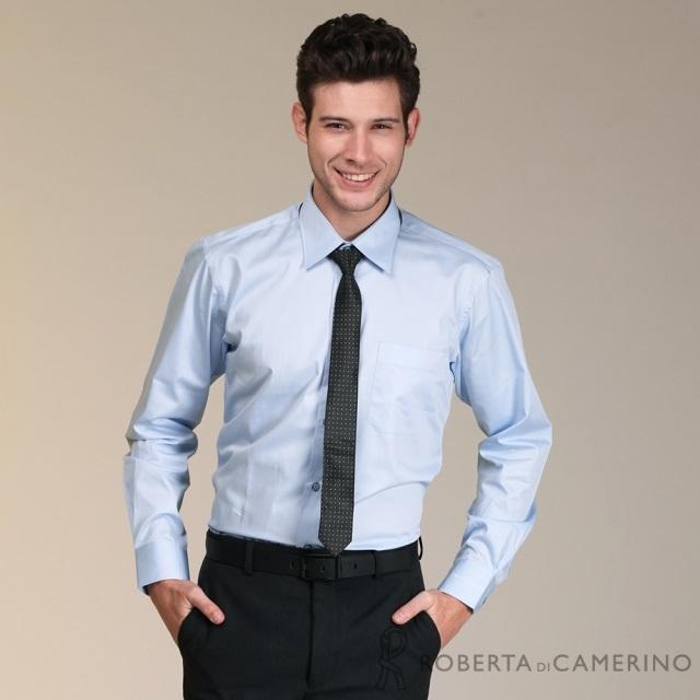 ROBERTA諾貝達 進口素材 台灣製 休閒百搭 純棉長袖襯衫RDC14-34藍色