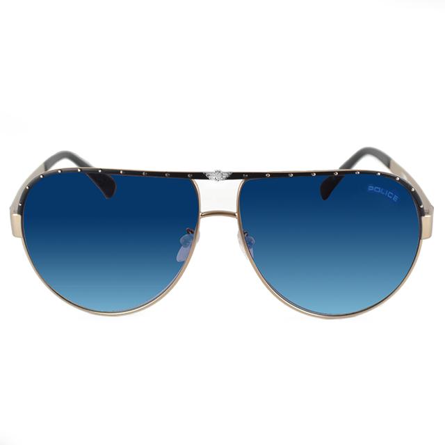 POLICE 義大利 品牌上框飛行員太陽眼鏡 / 金咖POS8844-8UZB