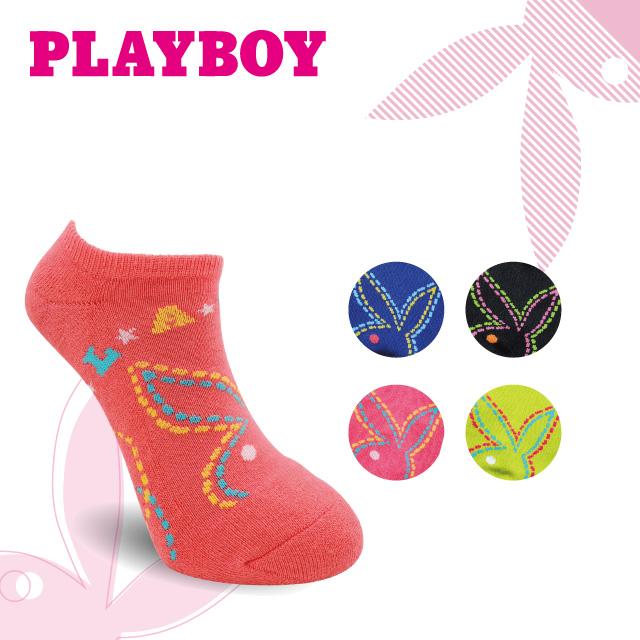 PLAYBOY 遊樂園女半起毛運動短襪