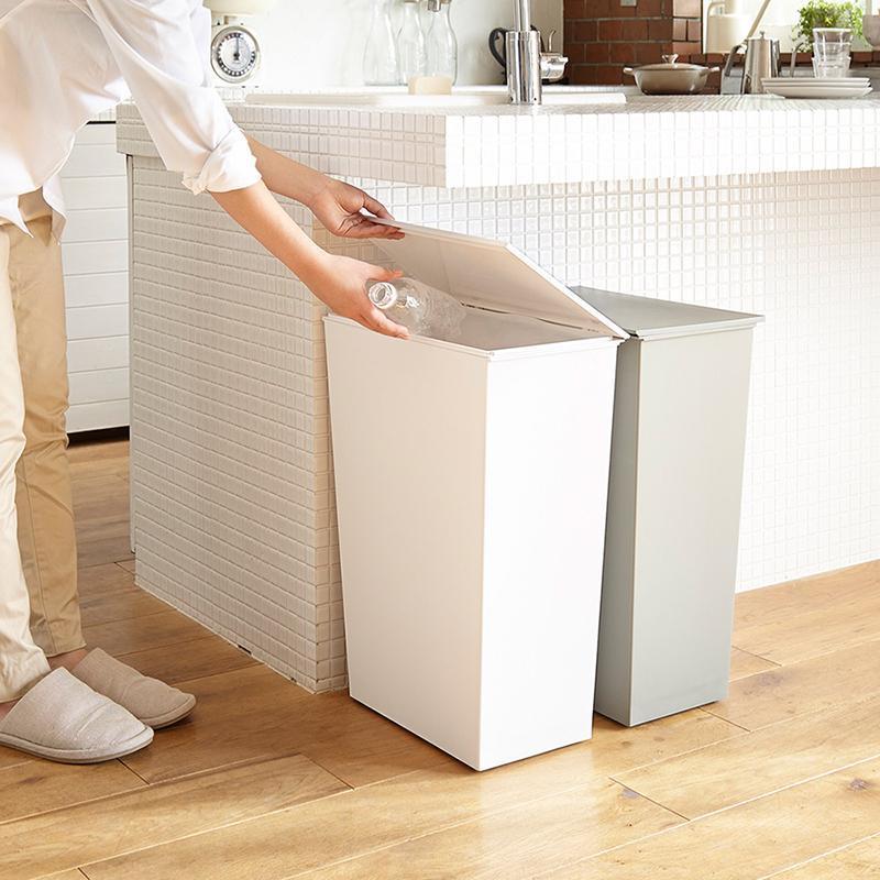 寬型可分類掀蓋式垃圾桶(附輪)-36L 黑