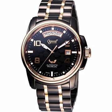 Ogival 愛其華 黑鷹系列因加百錄機械腕錶 IP黑x金 40mm 3360AMBR