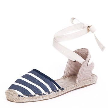 Soludos綁帶藍白條紋草編鞋