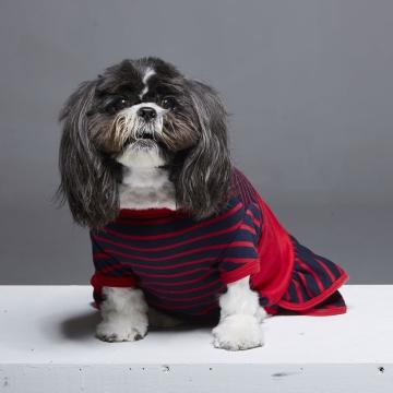 復古圓領落肩拼接造型寵物衣(加寬版)