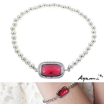 【Ayumi】銀珠串方塊琉璃手鍊(紅色)