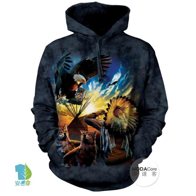 摩達客(預購)美國The Mountain 和平印地安狼與鷹 中性套頭長袖連帽T恤
