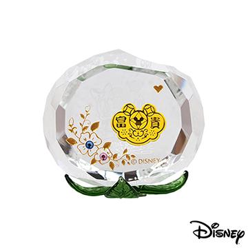 Disney迪士尼金飾 喜樂桃桃黃金/水晶桃子擺件