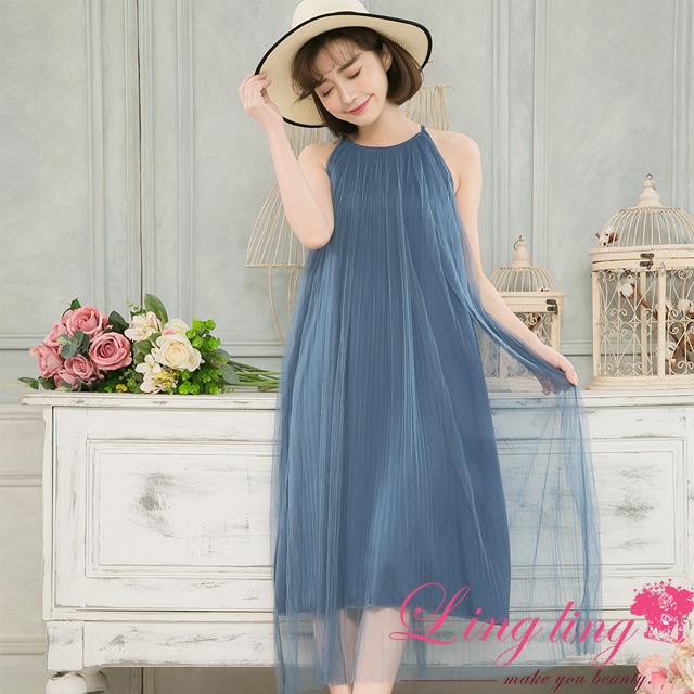 lingling A4111-01優雅女神細肩帶紗質長版連身洋裝(女神藍)