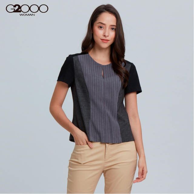 G2000條紋短袖休閒上衣-灰色