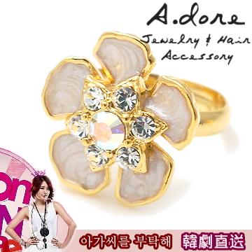 【A.dore】韓劇尹恩惠˙真珠白花漾物語水晶戒指