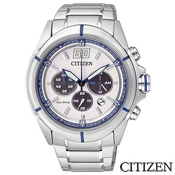 CITIZEN星辰 Eco-Drive率性三眼光動能男士手錶 CA4100-57A