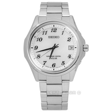 SEIKO 精工 / 7B24-0BN0S.SBTM237J / SPIRIT 品味美學太陽能電波不鏽鋼手錶 銀白色 38mm