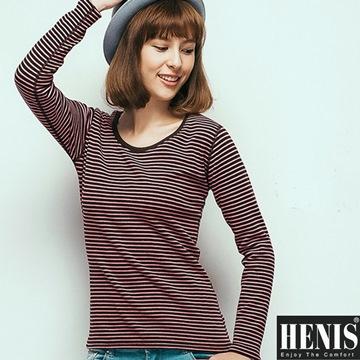 HENIS 時尚女速暖絨彈性條紋圓領保暖衫~2件組(隨機取色)