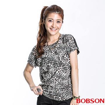 【BOBSON】女款短袖印布花上衣(23112-01)