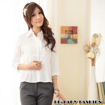 【EE-LADY】素面荷葉粉V領七分袖襯衫(白)38-42吋