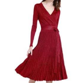 Memories Love Womens Solid Knitted Long Sleeve V Neck Wrap Pleated Party Sweater Dress Wine Red One Size