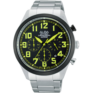 ALBA 玩色時尚三眼計時腕錶-黑 VD53-X170G