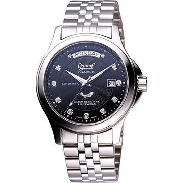 Ogival 愛其華 真鑽時尚 Day-Date 機械腕錶 黑 40mm 3353AJMS黑面