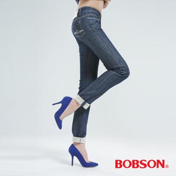 【BOBSON】女款植絨貼合布小直筒褲(深藍9058-53)