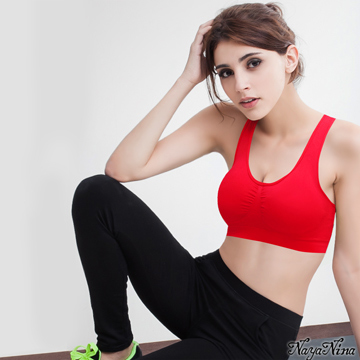 【Naya Nina】超彈力無縫U型美背運動無鋼圈內衣(紅色)