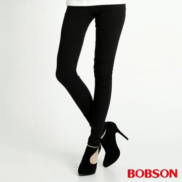 【BOBSON】女款高彈力緹織布緊身褲(黑8108-88)