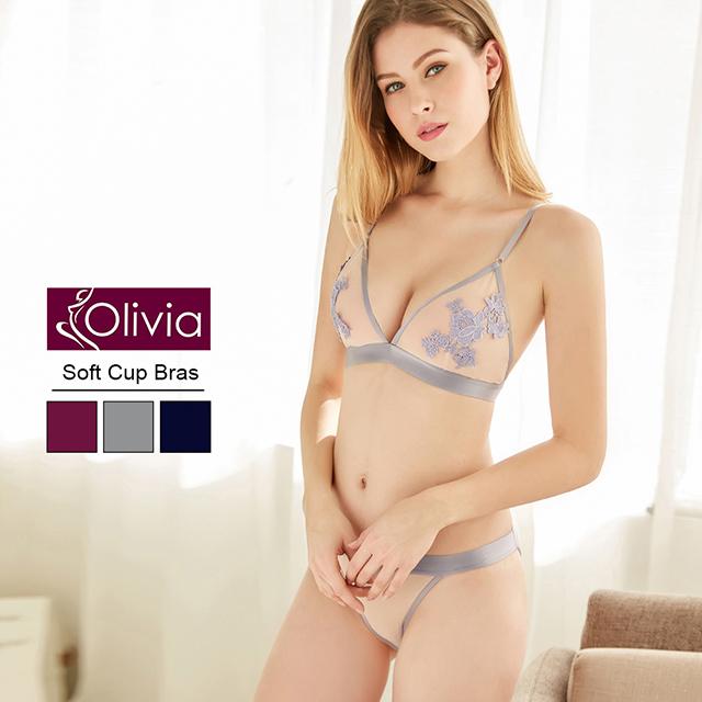 【Olivia】無鋼圈小性感舒適透膚魅惑內衣褲套組(灰色)