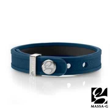 MASSA-G X DECO ONLY U唯你鍺鈦手環-品牌革紋(藍)