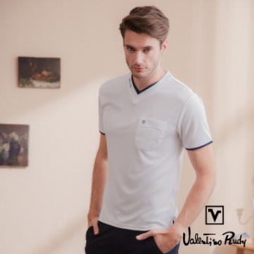 Valentino Rudy范倫鐵諾.路迪 冰涼機能T恤衫-白色-圓領口袋