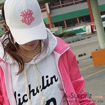 A-Surpriz 潮系休閒風粉色圖騰棒球帽(氣質白)