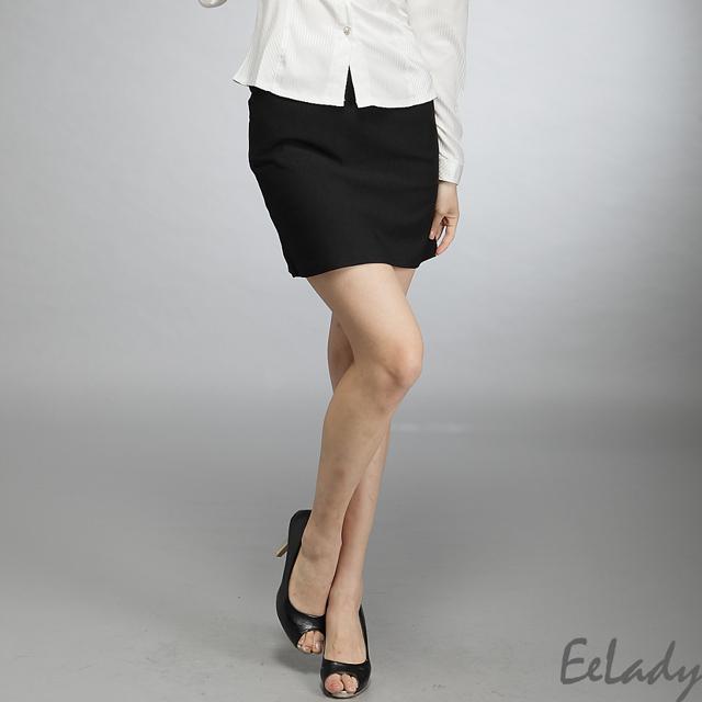 【EE-LADY】OL腰扣環雙口袋西裝裙-黑