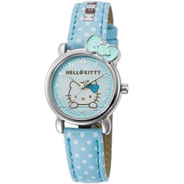 【HELLO KITTY】凱蒂貓嬌滴圓點蝴蝶結手錶 (粉藍 KT012LWNN-1)