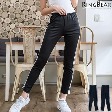 運動套裝--運動女孩系休閒素面撞色滾條運動長褲(黑XL-4L)-P117熊衣褲語