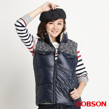 【BOBSON】 女款亮蔥毛線絲棉背心(藍34101-53)