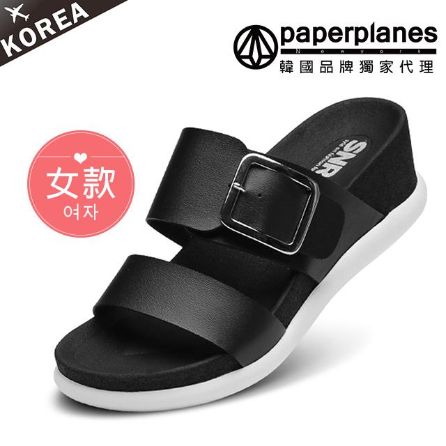 【Paperplanes】正韓製/版型偏小。簡約雙寬帶設計5.5CM彈性厚底涼拖鞋(7-252黑)