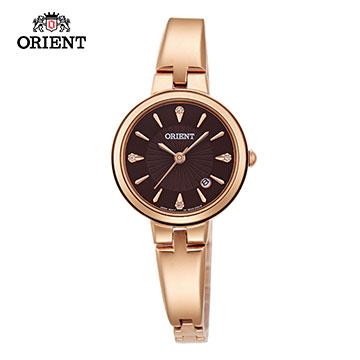 ORIENT 東方錶 DRESS系列 簡約優雅女錶 咖啡色x玫瑰金 FUNF8001T