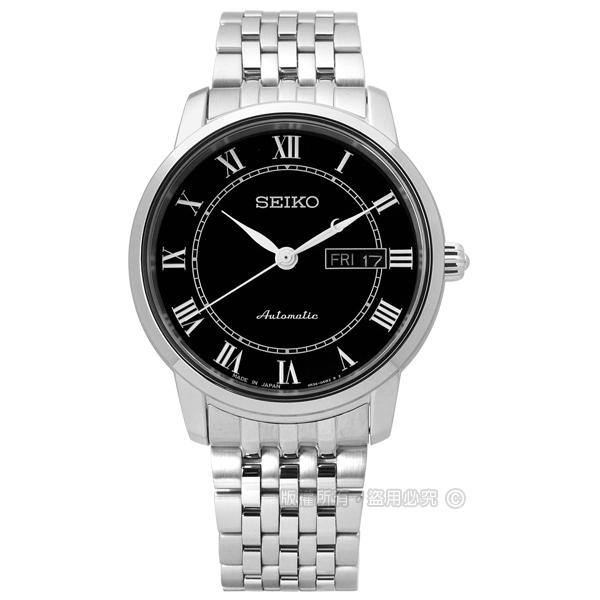 SEIKO 精工 / 4R36-04E0X.SRP765J1 / PRESAGE 現代經典款藍寶石水晶機械不鏽鋼手錶 黑色 39mm