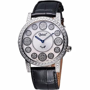Ogival 愛其華 時來運轉珍珠貝晶鑽腕錶 白貝 3355DGS皮