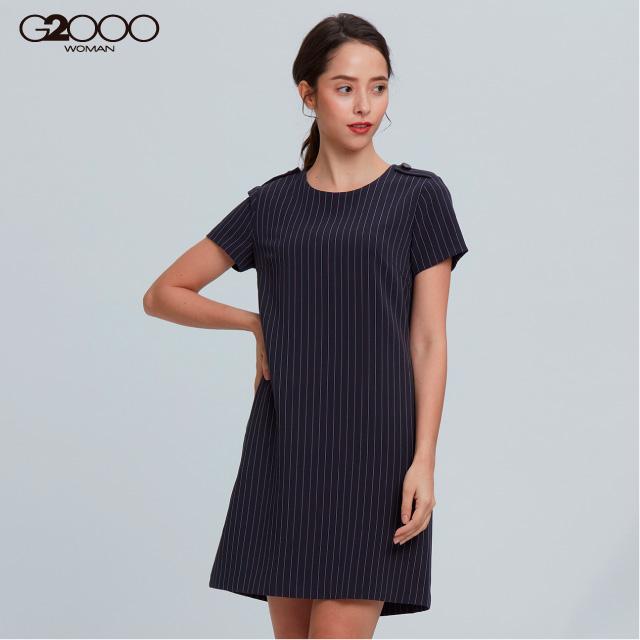 G2000條紋短袖洋裝-深藍色
