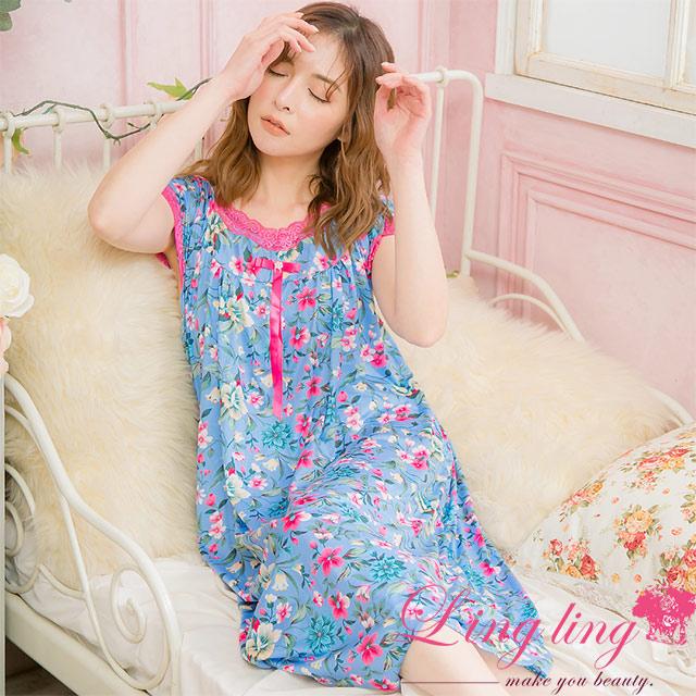 lingling A4054大尺碼-唯美蕾絲蝶結印花牛奶絲短袖連身裙睡衣(獨特藍)