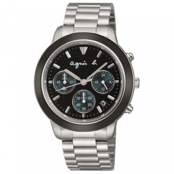 【agnes b.】時尚神秘力量黑三眼計時腕錶-黑x綠眼x銀(VD53-KQ00A/BT3014X1)