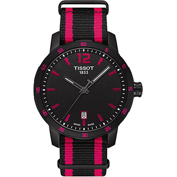 TISSOT 天梭 Quickster 時捷系列時尚運動腕錶 桃紅 40mm T0954103705701