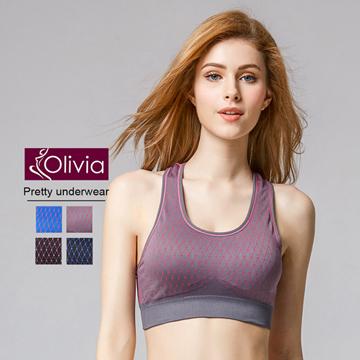 【Olivia】無鋼圈彈力包覆格紋運動內衣(灰底粉格)