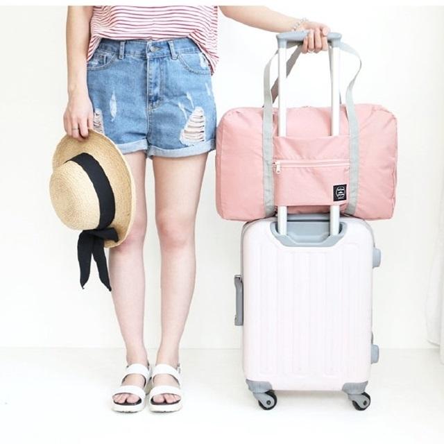 【樂生活】大容量可折疊 防潑水 拉桿 行李袋/旅行袋/收納袋/外出包 - 深藍