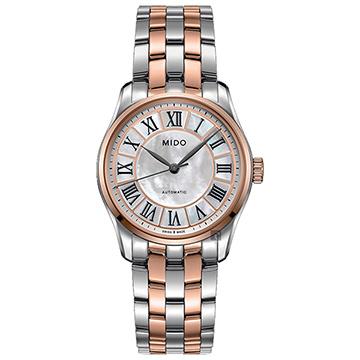 MIDO 美度 Belluna II 時尚名媛80小時動力儲存機械錶 銀色x玫瑰金色 33mm M0242072211000