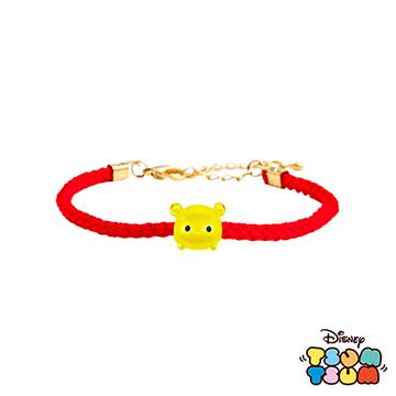 Disney迪士尼TSUM TSUM系列金飾 黃金編織手鍊-維尼款