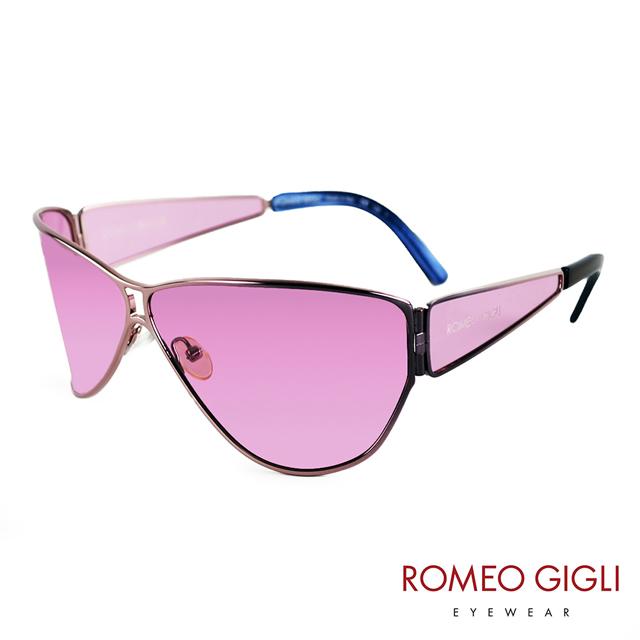 Romeo Gigli 義大利 時尚線性空間立體金屬太陽眼鏡 / 粉 RG51706