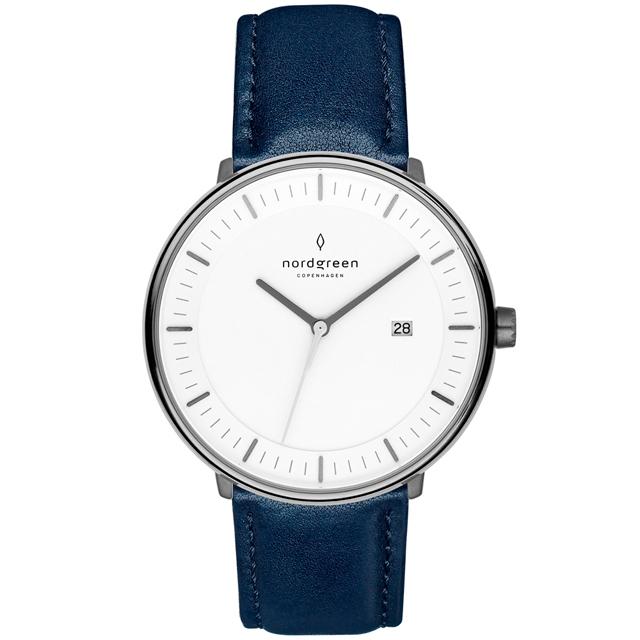 【Nordgreen】Philosopher哲學家x深空灰 北歐藍真皮錶帶腕錶 40mm(PH40GMLENAXX)